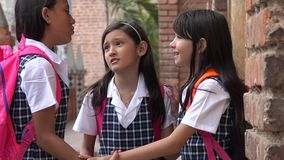 Socializing Girl Students Wearing School Uniforms Stock Images