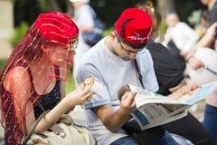 Socializing at Turkish festival Stock Image