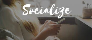 Socializzi il concetto del gruppo della rete di amicizia della Comunità fotografia stock libera da diritti