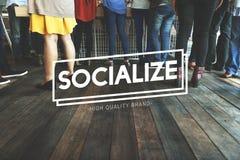 Socializzi il concetto di unità della rete di amicizia del collegamento immagine stock