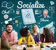 Socializzi la divisione dei media sociali che dividono il concetto fotografia stock