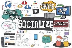 Socializzi la divisione dei media sociali collegano il concetto fotografie stock