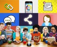 Socialt begrepp för anslutning för globala kommunikationer för nätverk Arkivbild