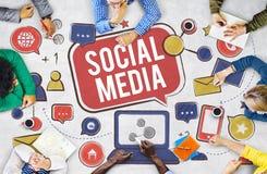 Socialt begrepp för global kommunikation för massmediaanslutning Arkivbilder
