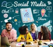 Socialt begrepp för global kommunikation för massmediapratstundaktie Arkivfoton