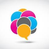 Socialt begrepp för medelanförandebubblor Royaltyfria Foton