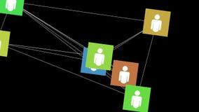 Socialt begrepp för nätverksanslutning, livliga symboler vektor illustrationer