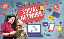 Socialt begrepp för nätverksMedia Communication anslutning royaltyfria foton