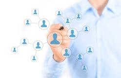 Socialt begrepp för nätverksanslutning Arkivbilder