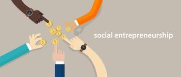 Socialt egenföretagandebegrepp av affären med framkallande gemenskap för bra inverkan som hjälper andra i behov arbeta för händer stock illustrationer