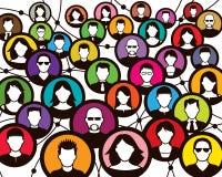 Socialt folkmassafolk royaltyfri illustrationer