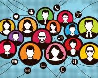 Socialt kommunikationsgruppfolk stock illustrationer
