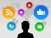 Socialt massmedia över hela världen Royaltyfri Illustrationer