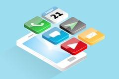 Socialt massmedia Apps på Smartphone Royaltyfri Illustrationer