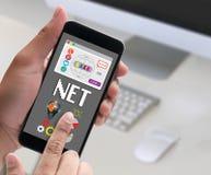 Socialt massmedia för NETTO data för datorinternet globala, kommunikation in Royaltyfri Bild