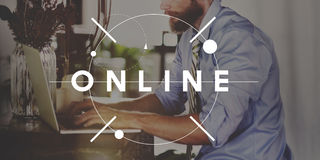 Socialt massmedia för online-teknologi som knyter kontakt begrepp Royaltyfri Fotografi