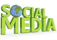 socialt massmedia för ord 3d på vit bakgrund Royaltyfri Fotografi