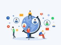 Socialt massmedia för plan vektorillustration och digitalt marknadsföra online-anslutningsbegrepp royaltyfri illustrationer