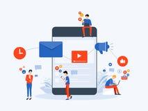 Socialt massmedia f?r plan vektorillustration och digitalt marknadsf?ra online-anslutningsbegrepp royaltyfri illustrationer