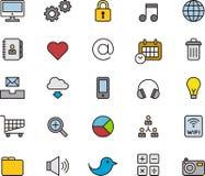 Socialt massmedia och kommunikationssymboler Arkivfoto
