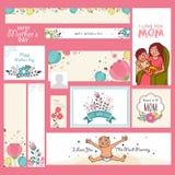 Socialt massmedia och marknadsföringsbaner för mors dag Royaltyfri Bild