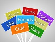 Socialt massmedia och nätverkandebaner Arkivfoto