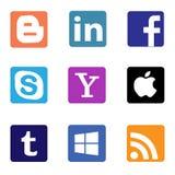 Socialt massmedia och nätverkssymboler och logoer royaltyfri illustrationer