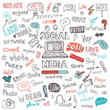 Socialt massmedia ord och symbolsmoln Knapphändigt klotter Royaltyfri Bild