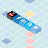 Socialt massmedia på Scrabblebräde Fotografering för Bildbyråer