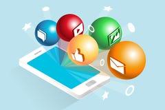 Socialt massmedia på Smartphone Stock Illustrationer
