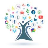 Socialt massmedia/rengöringsduksymbolsstamträd på vit bakgrund Arkivfoton