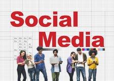 Socialt massmedia som knyter kontakt anslutningskommunikationsbegrepp Arkivfoton