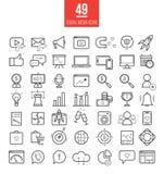Socialt massmedia som marknadsför den moderna linjen symbolsuppsättning SMM-vektor Royaltyfri Foto