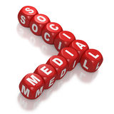 Socialt massmedia som text på röda kvarter Arkivbild