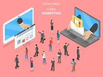 Socialt massmedia vs vektor för mejlmarknadsföringslägenhet royaltyfri illustrationer