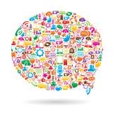 Socialt massmediaanförande bubblar Arkivfoton