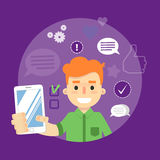 Socialt massmediabaner Pojke med smartphone vektor illustrationer