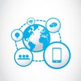 Socialt massmediabegrepp för global smartphone Royaltyfri Fotografi