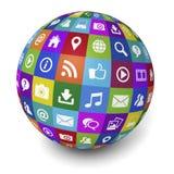Socialt massmediabegrepp för internet och för rengöringsduk royaltyfri illustrationer
