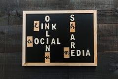 Socialt massmediabegrepp för svart tavla Arkivbilder