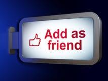 Socialt massmediabegrepp: Tillfoga som vän och gilla på affischtavlabackgr Royaltyfri Foto