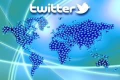 Socialt massmedianätverk Twitter Logo Wallpaper Royaltyfri Bild