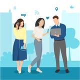 Socialt massmediatema, lägenhetstil, färgrik, vektorsymbolsuppsättning för informationsdiagram, websites, mobil och tryckmassmedi Royaltyfri Bild