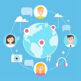 Socialt nätverk, anhängare och samkvämmassmedia som marknadsför illustrationen Royaltyfri Bild