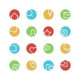Socialt nätverk färgad symbolsuppsättning Royaltyfria Bilder