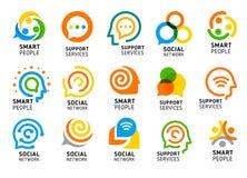 Socialt nätverk för kluringar med den idérika hjärnan Supporttjänstsymbolsuppsättning Färgrik vektorlogosamling Fotografering för Bildbyråer