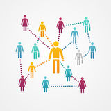 Socialt nätverk för vektor med kontursymboler Arkivbild