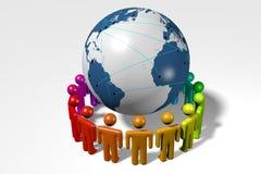 Socialt nätverk, internet som är global, jord, folk stock illustrationer