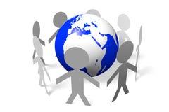 Socialt nätverk, internet som är global, jord, folk vektor illustrationer
