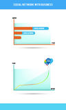 Socialt nätverk med affären, e-kommers royaltyfri illustrationer